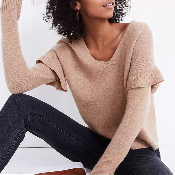 Madewell Ruffled Stitch-Play pullover Sweater
